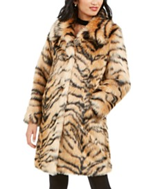 Kendall + Kylie Tiger-Print Faux-Fur Coat