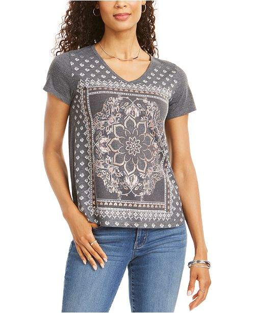 Style & Co Petite Placed-Print V-Neck T-Shirt, Created for Macy's