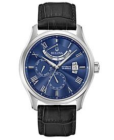 Men's Automatic Wilton Black Leather Strap Watch 43mm