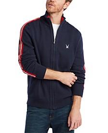 Men's Blue Sail Full-Zip Racing Stripe Sweater, Created for Macy's