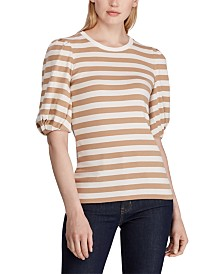 Lauren Ralph Lauren Stripe-Print Puff-Sleeve T-Shirt