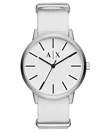 A|X Armani Exchange Men's Cayde White Nylon Strap Watch 42mm