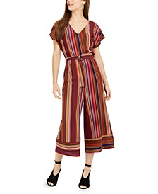 Juniors' V-Neck Striped Jumpsuit