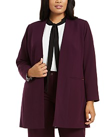 Calvin Klein Plus Size Collarless Topper Jacket