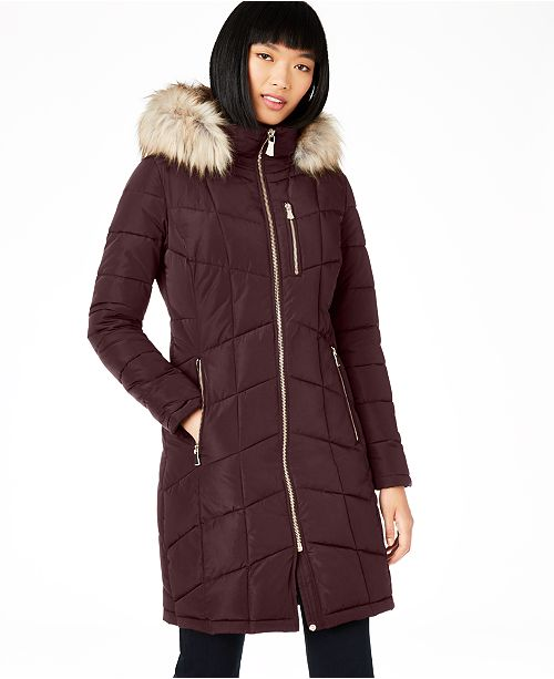 Calvin Klein Hooded Faux-Fur-Trim Puffer Coat, Created For Macy's