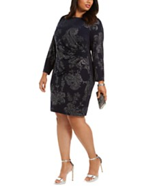 Jessica Howard Plus Size Paisley-Print Side-Ruched Dress