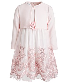 Little Girls Cropped Cardigan & Embroidered Dress Set