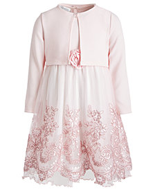 Bonnie Jean Toddler Girls Cropped Cardigan & Embroidered Dress Set