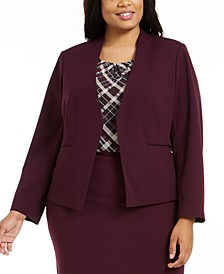 Plus Size Collarless Blazer