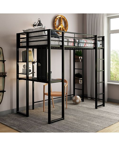Alix Twin Metal Loft Bed with Desk