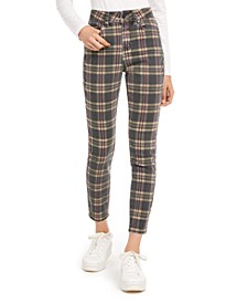 Juniors' Plaid Ankle Jeans