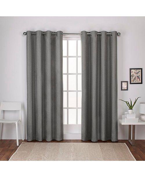 Curtains London Textured Linen Blackout Grommet Top Curtain Panel Pair 54 X 108