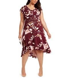 Taylor Plus Size Crochet-Trim High-Low Dress