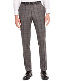 Bar III Men's Slim-Fit Gray/Brown Plaid Suit Separate Pants, Created for Macy's
