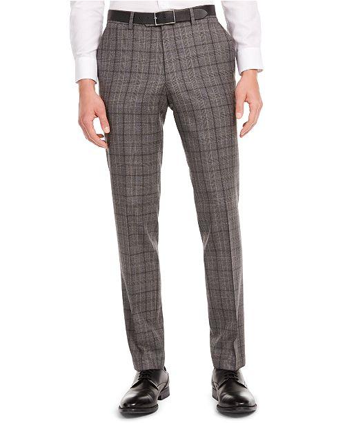 Bar III Men's Slim-Fit Gray/Brown Plaid Suit Separate Pants, Created for Macy's
