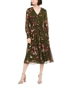 Taylor Floral-Print V-Neck Dress