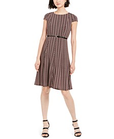 Petite Belted Puff-Print Dress