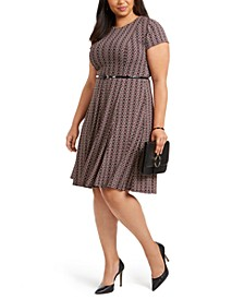 Plus Size Belted Puff-Print Dress