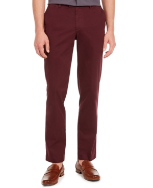 Men's Refined Stretch Slim Fit Chinos in Raspberry Chocolate