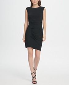 DKNY Ruched Jersey Sheath Dress