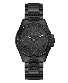 GUESS Women's Black Ionic Plated Stainless Steel Watch Accented with Crystals, 40mm