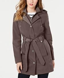 London Fog Front-Zip Hooded Trench Coat