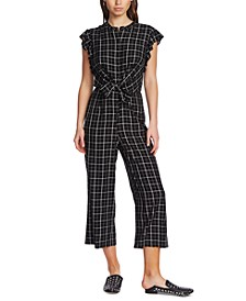Checker Printed Flutter-Sleeve Jumpsuit