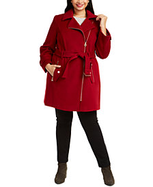 Michael Michael Kors Plus Size Asymmetrical Belted Coat, Created for Macy's