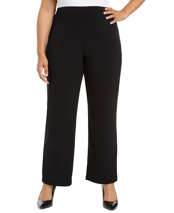 Alfani Plus Size Pull-On Wide-Leg Pants, Created for Macy's