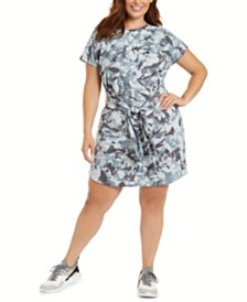 Ideology Plus Size Tie-Dye Tie-Front T-Shirt Dress, Created for Macy's