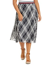 Plus Size Plaid Midi Skirt