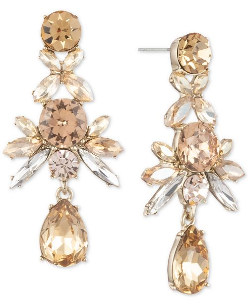 Givenchy Crystal Cluster Linear Drop Earrings