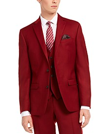 Men's Slim-Fit Red Flannel Suit Separate Jacket, Created for Macy's