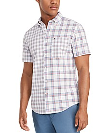 Men's Custom-Fit Adrien Piece Plaid Short Sleeve Shirt, Created for Macy's
