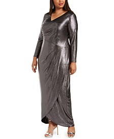 Plus Size Foiled Jersey Wrap Dress