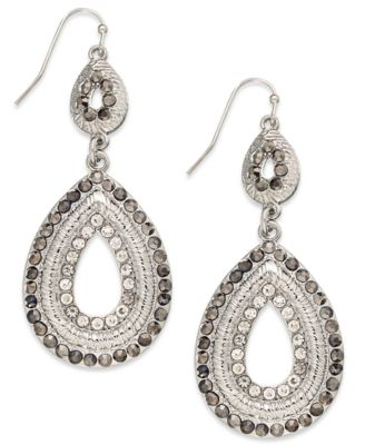 Image of INC International Concepts Silver-Tone Pave Double Drop Earrings