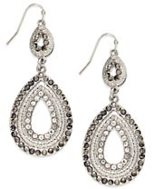 INC International Concepts Silver-Tone Pave Double Drop Earrings