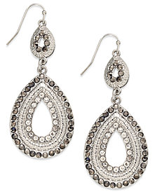 I.N.C. Silver-Tone Pave Double Drop Earrings