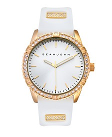 Sean John Men's Dress Sport 3 Hands White Silicon Strap Watch 46mm
