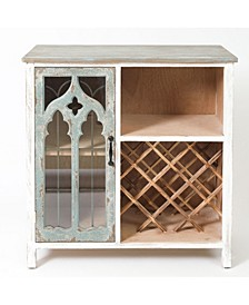 Shabby-Chic Distressed Storage and Wine Cabinet