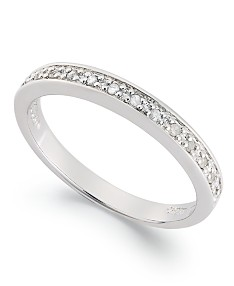 Diamond Band Ring in Sterling Silver (1/10 ct. t.w.). Extended Sizes