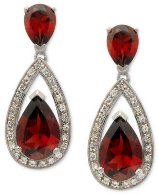 Sterling Silver Earrings, Garnet (6 ct. t.w.) and Diamond (1/5 ct. t.w.) Pear Drop Earrings