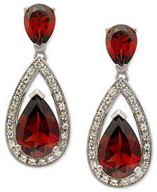 Sterling Silver Earrings, Garnet (6 ct. t.w.) and Diamond (1/5 ct. t.w.) Pear Drop Earrings