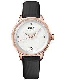 LIMITED EDITION Mido Swiss Automatic Rainflower Black Fabric Strap Watch 34mm, Created For Macy's