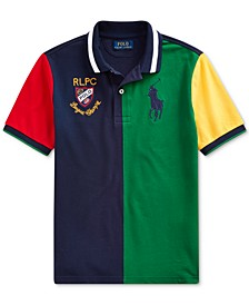 Big Boys Color-Blocked Cotton Mesh Polo Shirt