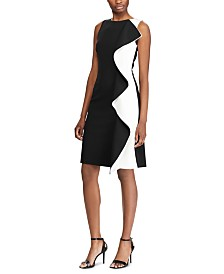 Lauren Ralph Lauren Petite Two-Tone Ruffle-Trim Crepe Dress