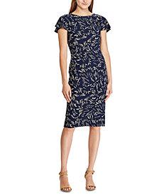 Lauren Ralph Lauren Petite Botanical-Print Short-Sleeve Jersey Dress
