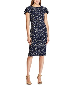 Lauren Ralph Lauren Petite Botanical-Print Short-Sleeve Jersey Dress