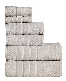 Feather and Stitch Waffle 6-PC. Towel Set