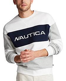 Nautica Men's Blue Sail Classic-Fit Colorblocked Fleece Logo Sweatshirt, Created for Macy's
